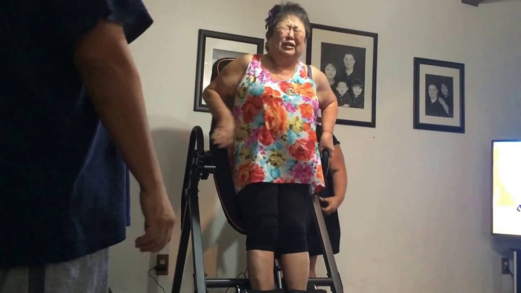 Picture of Woman Trying Inversion Table