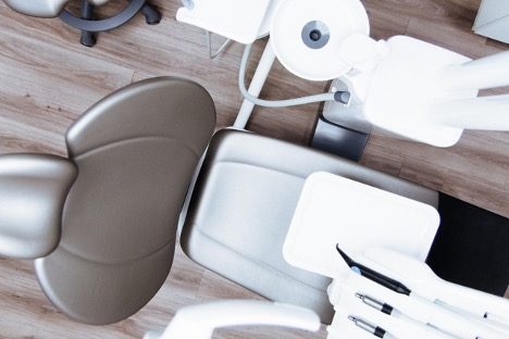 Aerial view of a dentist's chair